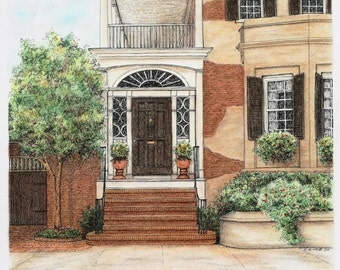 "Brown Brick Architectural Art Pastel Pen and Ink, Southern Home Grand Entryway Stucco 12"" x 11"""