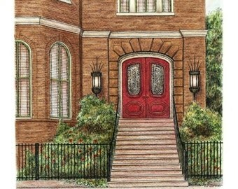"Architectural Art Pastel Pen and Ink, Southern Brick Red Brown  Southern Home Entryway 12"" x 14"""