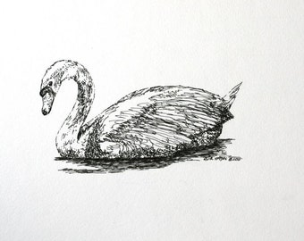 "Floating Swan Pen and Ink Child's Wall Decor Original Animal Bird Art 6"" x 4"" Nursery Room Drawing Illustration"