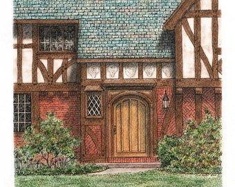 "Pastel Architectural Art Original Pen and Ink Architectural Art Brown Timber and Brick  Entryway 9"" x 9"" Wall Decor"