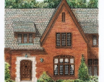 "Red Brick Architectural Art Entryway, Original Pen and Ink with Pastel Overlay, Small Format Art, Home Decor 10"" x 11.5"" Realtor Gift"