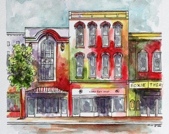"Indiana Architectural Art Pen and Ink with Watercolor 8"" x 8"" Red Purple Yellow Abstract Urban Storefront Streetscape Art Indiana Cityscape"