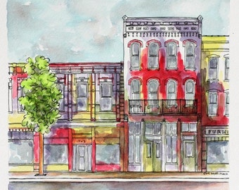 "Architectural Art Indiana Watercolor Pen and Ink 8""x8""  Red Abstract Urban Storefront Streetscape Original Wall Art"