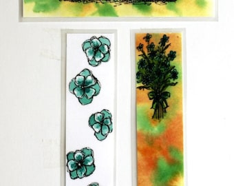 "Laminated bookmarks abstract blue flowers and flower bouquet or lake cattail reeds art 1"" x 6"""