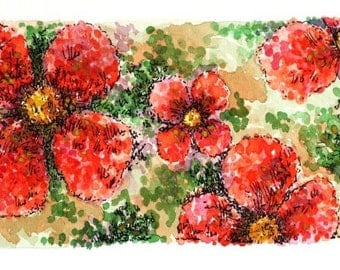 "Pointillism floral abstract original pen and ink drawing 3 1/2"" x 10"" red watercolor painting flowers green red"