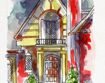 "Architectural Art, Tudor Entryway, Abstract Watercolor Pen and Ink 4"" x6"" Original Streetscape, Wall Art, sfa Yellow Red,  Realtor Gift"