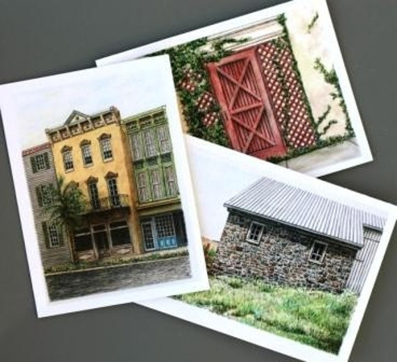 """Architectural Art Note Cards of Red Gate Stone Barn Yellow Building Set of 3 Blank all occasion greeting cards 5.75""""x4.25"""""""