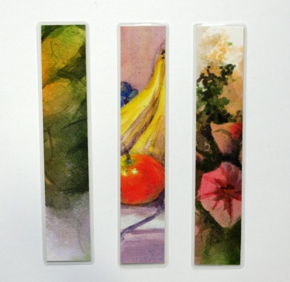 "Bookmark laminated watercolor with apples, bananas and flowers fruit original art 1.5"" x 8"" still life abstract"