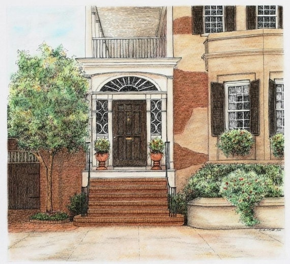 """Brown Brick Architectural Art Pastel Pen and Ink, Southern Home Grand Entryway Stucco 12"""" x 11"""""""