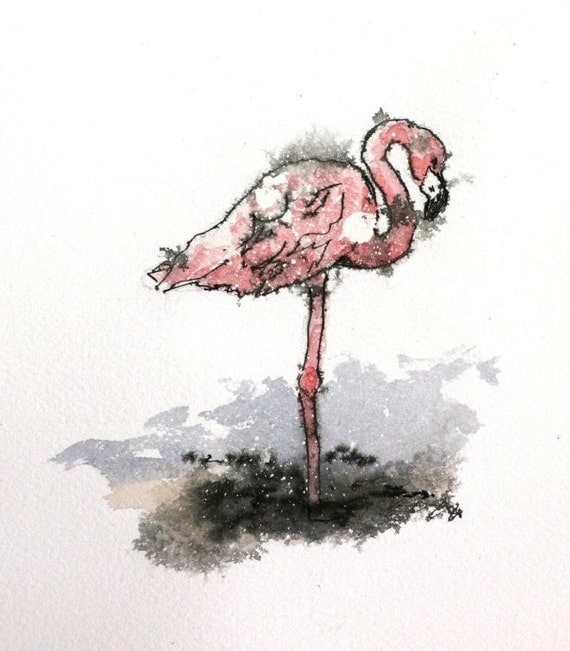 "Pink flamingo watercolor original shore bird 5"" x 5"" Pen and Ink Wildlife Animal Art"