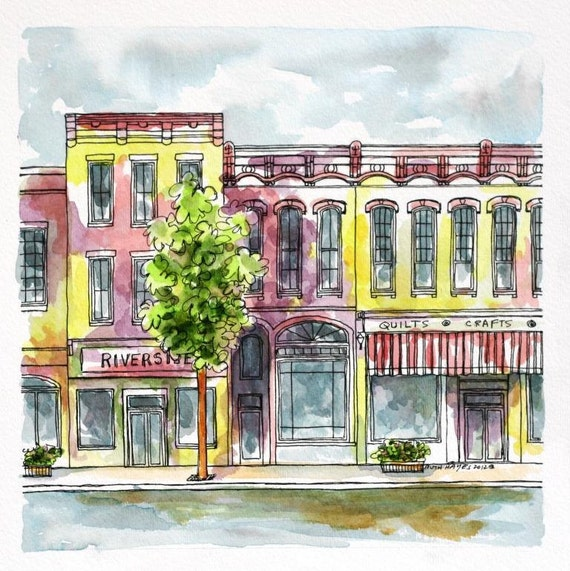 "Indiana Abstract Streetscape Architectural Art Watercolor Pen and Ink 8"" x 8"" Original Wall Art Purple Yellow"