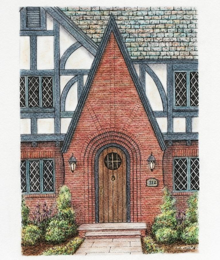 Tudor Red Brick Architectural Art 7.5x10.5