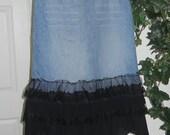 Frou Frou Noir jean skirt black ruffled tulle frilly ultra femme Renaissance Denim Couture bohemian goddess mermaid