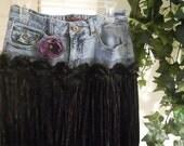 SALE  black velvet purple rose Renaissance Denim Couture funky bohemian jean skirt