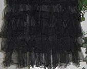 Petite Mendigotte bohemian jean skirt black ruffled tulle tiered layered  lace goth steampunk French Renaissance Denim Couture