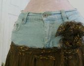 Frou Frou au Chocolat bohemian jean skirt ruffled chocolate frilly bronze lace mermaid faerie Renaissance Denim Couture