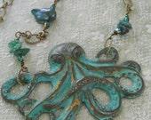 Pieuvre Émeraude octopus necklace teal verdigris emerald green vintage crystal baroque pearl beachy bohemian turquoise sea goddess