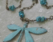 Libellule dragonfly necklace genuine turquoise seafoam green beachy bohemian teal verdigris patina Celtic medieval