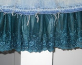 Sirène teal lace jean skirt Seven for All Mankind blue turquoise Renaissance Denim Couture bohemian mermaid  sea goddess Made to Order
