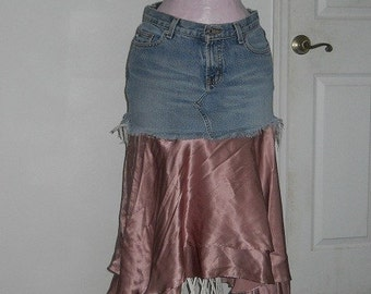 SALE ruffled jean skirt funky frilly mauve dusty rose satin fairy Renaissance Denim Couture French bohemian