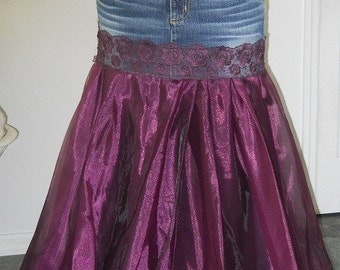 Chloé jean skirt dark purple satin tulle vintage lace bohemian goddess ballroom  violet Renaissance Denim Couture Made to Order