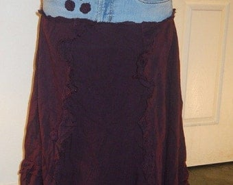 Ruffled jean skirt bohemian denim upcycled skirt burgundy dark purple frou frou  fairy hemline Renaissance Denim Couture  boho skirt