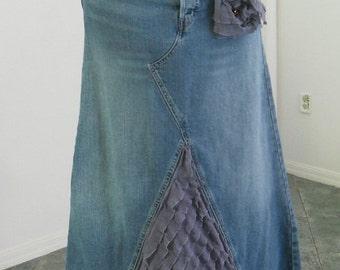 Levi's jean skirt lavender ruffle wisteria purple lilac amethyst rhinestone  bohemian mermaid Renaissance Denim Couture