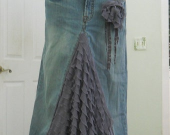 Belle Époque Lavande bohemian jean skirt  lilac purple lavender wisteria ruffled silk ultra femme bohemian beach wedding mermaid