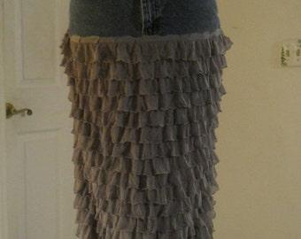 Frou Frou bohemian jean skirt  grey silk ruffled tiers frilly ultra femme  boho Renaissance Denim Couture mermaid faerie goddess