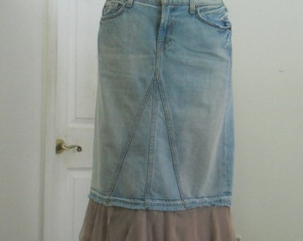 Ballerine Mauve jean skirt lilac tulle ruffled bohemian mermaid  pink Seven for All Mankind Renaissance Denim Couture Made to Order