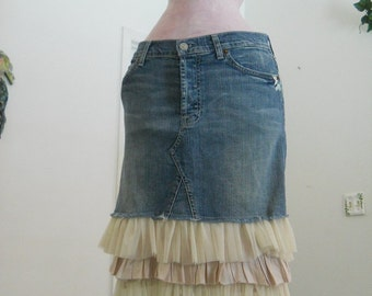 SALE Seven for All Mankind tulle ruffled jean skirt mauve beige satin Renaissance Denim Couture bohemian fairy mermaid