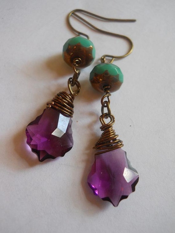 Baroque turquoise amethyst crystal aqua purple fluted briolette funky French bohemian earrings