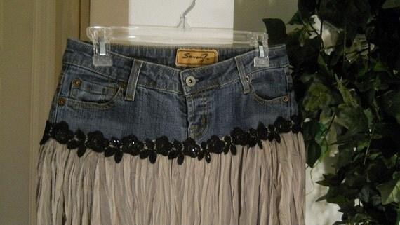 Café Crème jean skirt taupe silk vintage lace French chic Renaissance Denim Couture bohemian goddess
