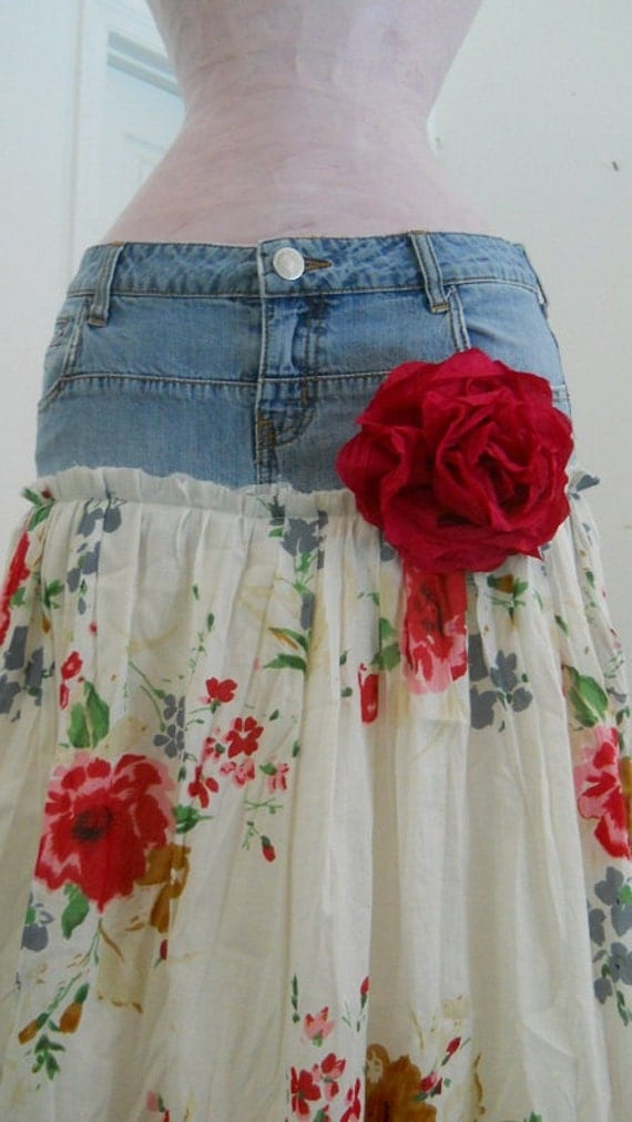 Belles Roses bohemian jean skirt Renaissance Denim Couture long flowy boho gypsy faerie Made to Order