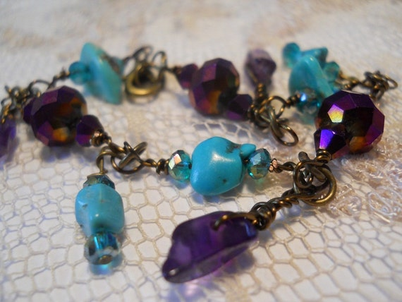 Turquoise et Violettes bracelet genuine turquoise amethyst dark purple vintage crystal bohemian gemstone sparkle