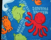 Marine Friends - Cloth Wipes / Napkins - Set of 5 - Double Flannel