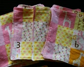 Girl Giraffe - Cloth Wipes / Napkins - Set of 5 - Double Flannel
