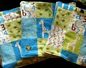 Boy Giraffe - Cloth Wipes / Napkins - Set of 5 - Double Flannel