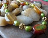 Autumn Leaves Agate and Pearl Necklace