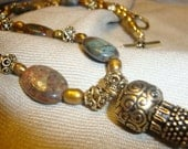 Egyptian Princess- African Variscite Gemstone and Pearl Necklace with Antiqued Gold Tassel Pendant