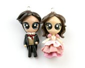 Mal and Kaylee go to the ball... - Miniature Sculptures - Charm Necklaces