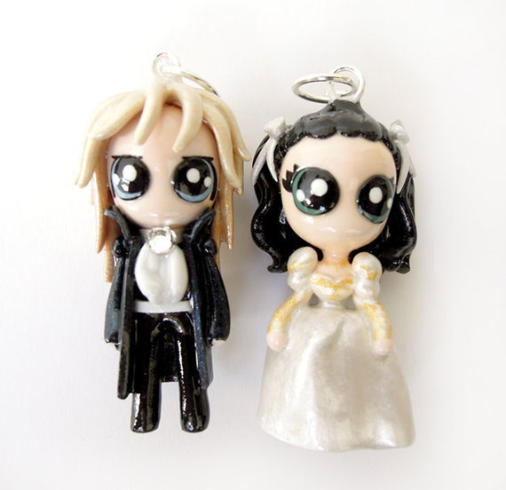 Jareth and Sarah - Miniature Sculptures - Charm Pendants