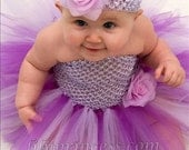 Custom Baby Infant Newborn Crochet Tutu Halter Dress  Matched FlowerHeadband Photo Prop