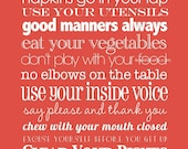 Table Rules . 11x14 // Poppy Red // Subway Art Poster Print