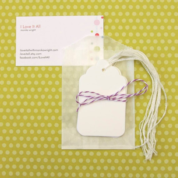 10 White Medium Small Shipping Gift Hang Tags . Scrapbook Journaling Spots . December Daily . Gift Wrap Packaging
