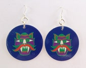 POG 90's Milk Cap Dangle Earrings:  Tiki Man Witch Doctor - Blue