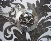 Biker Chick Stainless Steel Necklace with Skull Charm and Swarovski Crystal Drop Lady Biker Jewlery