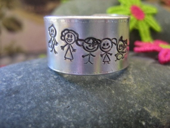 Wide Ring Band - Hand Stamped Aluminum - Stick Family Dad Mom Son Daughter Baby Dog Cat Personalized - Family Jewelry - Mothers Gift
