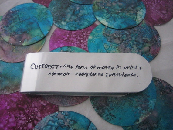 Definitions Currency - Hand Stamped Money Clip Anniversary, Wedding, Birthday, Fathers Day, Wedding Party