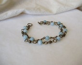 Bracelet Delicate Chain in Antique Gold and Blue Amazonite - Zen Garden - Complimentary Gift Wrapping